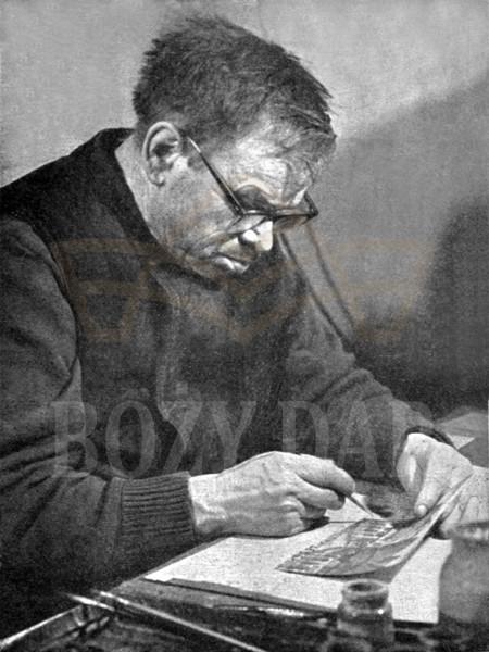 Nikifor Krynicki podczas pracy